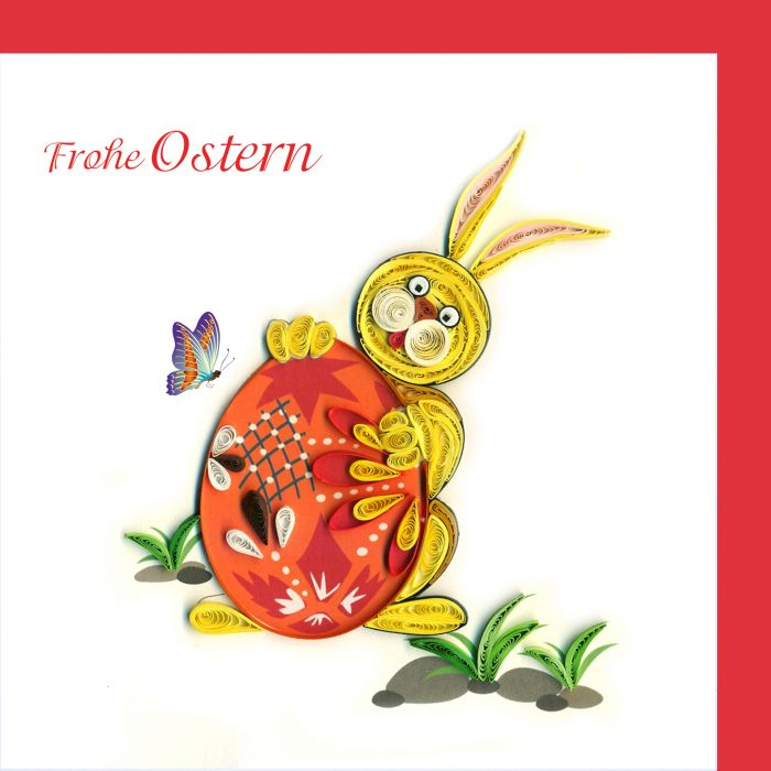 Frohe Ostern Karte.Paper Quilling Osterhase Frohe Ostern
